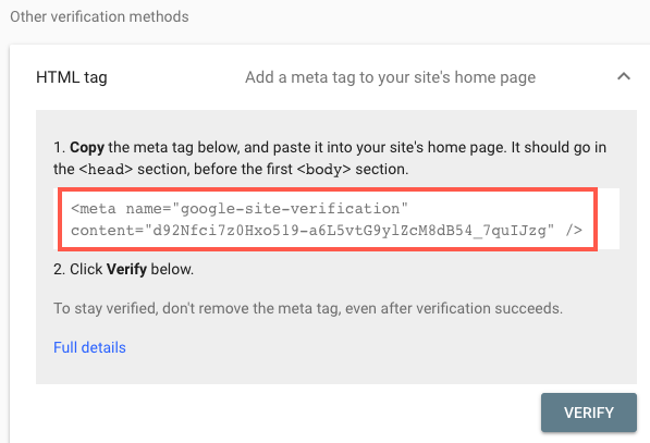 The V1-verify tag has been replaced by theGoogle Site Verification meta tag